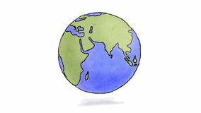 Hand drawn Earth spinning. Loop-ready hand drawn animation of Earth spinning (charcoal and watercolour royalty free illustration