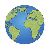 Hand drawn earth on white background Stock Images