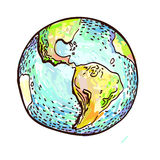 Hand drawn earth on white Stock Image