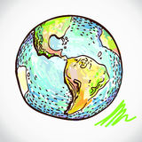 Hand drawn earth on white Royalty Free Stock Photos