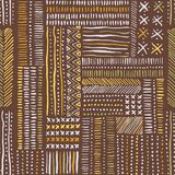Hand drawn clay tones tribal marks, cross stitches on brown background vector seamless pattern. Abstract geometric print. Hand drawn earthy clay tones tribal royalty free illustration