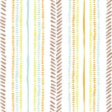 Hand drawn tribal stripes, stitches on white background vector seamless pattern. Fresh abstract geometric drawing. Hand drawn earthy tones tribal lines and stock illustration