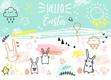 Hand-drawn Easter card with bunnies, vector Royalty Free Stock Images
