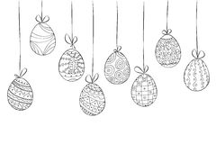 Hand drawn easter card of hanging eggs. Doodle style. Vector illustration Stock Photography