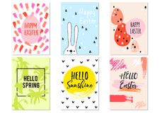 Hand drawn Easter cards, vector set Royalty Free Stock Image