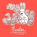 Hand drawn Easter doodle postcard. Eggs in basket and bunny. Holiday symbols. Vector illustration. Hand drawn Easter doodle postcard. Eggs in basket and bunny royalty free illustration