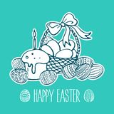 Hand drawn Easter doodle postcard. Eggs in basket. Holiday symbols. Vector illustration. Hand drawn Easter doodle postcard. Eggs in basket. Holiday symbols vector illustration