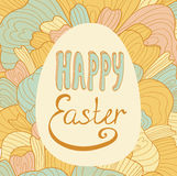 Hand drawn Easter egg greeting card. Stock Photos