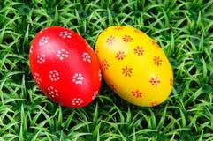Hand-drawn Easter eggs. Hand-drawn  Easter eggs on on artificial green grass Royalty Free Stock Photos