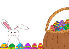 Hand drawn easter eggs basket and bunny. Hand drawn easter eggs basket and cartoon bunny Stock Image