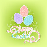 Hand-drawn Easter eggs with a beautiful inscription: Happy Easter. Cut paper. Doodle illustration of Easter eggs with outline of leaves on a green gradient Stock Image