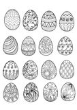 Hand drawn Easter eggs for coloring book Stock Photo