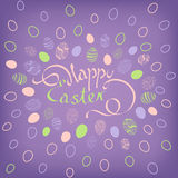 Hand-drawn Easter eggs in doodle style. Easter postcard with a beautiful inscription: Happy Easter on the background  with Easter eggs. Hand-drawn Easter eggs in Royalty Free Stock Image