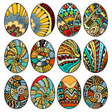 Hand drawn easter eggs. Set for adult and design elements Stock Photos