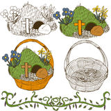 Hand drawn easter garden flowers Royalty Free Stock Photo