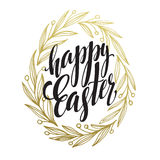 Hand drawn easter greeting card. Golden branch and leaves wreath. Happy easter hand lettering. Vector illustration Stock Image