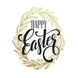 Hand drawn easter greeting card. Golden branch and leaves wreath. Happy easter hand lettering. Vector illustration Stock Photography