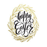 Hand drawn easter greeting card. Golden branch and leaves wreath. Happy easter hand lettering. Vector illustration Stock Images