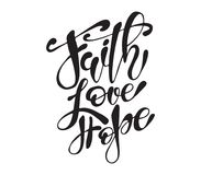 Hand drawn Easter quote Greeting card templates with lettering phrase Faith, Love, Hope Modern calligraphy style