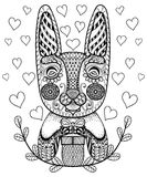 Hand drawn Easter Rabbit with gift and hearts in doodle, pattern Stock Photo