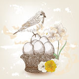 Hand drawn easter scene Stock Photography