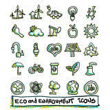 25 hand drawn eco and environment icons collection. Vector format Royalty Free Stock Image