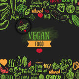 Hand drawn eco food poster with lettering for organic, bio, natural, vegan, food on dark background Royalty Free Stock Photography