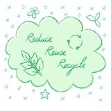 Reduce Reuse Recycle lettering. Hand drawn ecology banner - Reduce Reuse Recycle lettering Royalty Free Stock Image