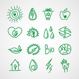 Hand drawn ecology icons. Vector doodles Stock Images