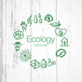 Hand drawn ecology icons. Vector doodles Stock Photo