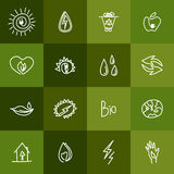 Hand drawn ecology icons. Vector doodles Royalty Free Stock Photo