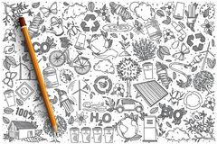 Hand drawn Ecology vector doodle set Royalty Free Stock Photo