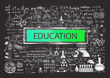 Hand drawn education on chalkboard Royalty Free Stock Image