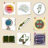 Hand drawn education emblems set. Isolated Royalty Free Stock Photos