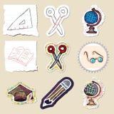 Hand drawn education emblems set. Isolated Stock Image