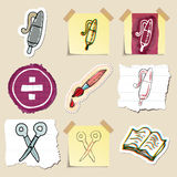 Hand drawn education emblems set. Isolated Royalty Free Stock Images