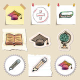 Hand drawn education emblems set. Isolated Royalty Free Stock Image