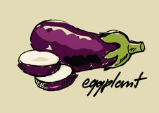 Hand drawn eggplant Royalty Free Stock Photography