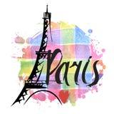 Hand drawn Eiffel Tower. Paris Stock Photos
