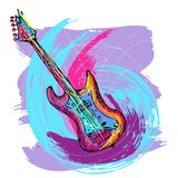 Hand drawn electric guitar Stock Photos
