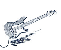 Hand drawn electric guitar Royalty Free Stock Photography