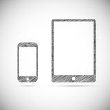 Hand-drawn electronic devices Royalty Free Stock Photography