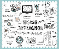 Hand drawn electronic product set Stock Image