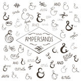 Hand drawn elegant ampersands and curls Stock Photo