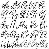 Hand drawn elegant calligraphy font. Modern brush lettering. Grunge style alphabet. Vector illustration. Stock Photo