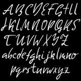 Hand drawn elegant calligraphy font. Modern brush lettering. Grunge style alphabet. Vector illustration. Stock Images