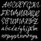 Hand drawn elegant calligraphy font. Modern brush lettering. Grunge style alphabet. Vector illustration. Royalty Free Stock Photo
