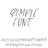 Hand drawn elegant calligraphy font. Modern brush lettering. Grunge style alphabet. Vector illustration. Royalty Free Stock Photography