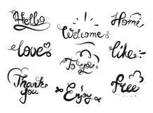Hand drawn elegant catchwords for your design Royalty Free Stock Images