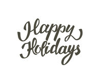 Hand drawn elegant lettering of Happy Holidays. Isolated on white background Stock Photo